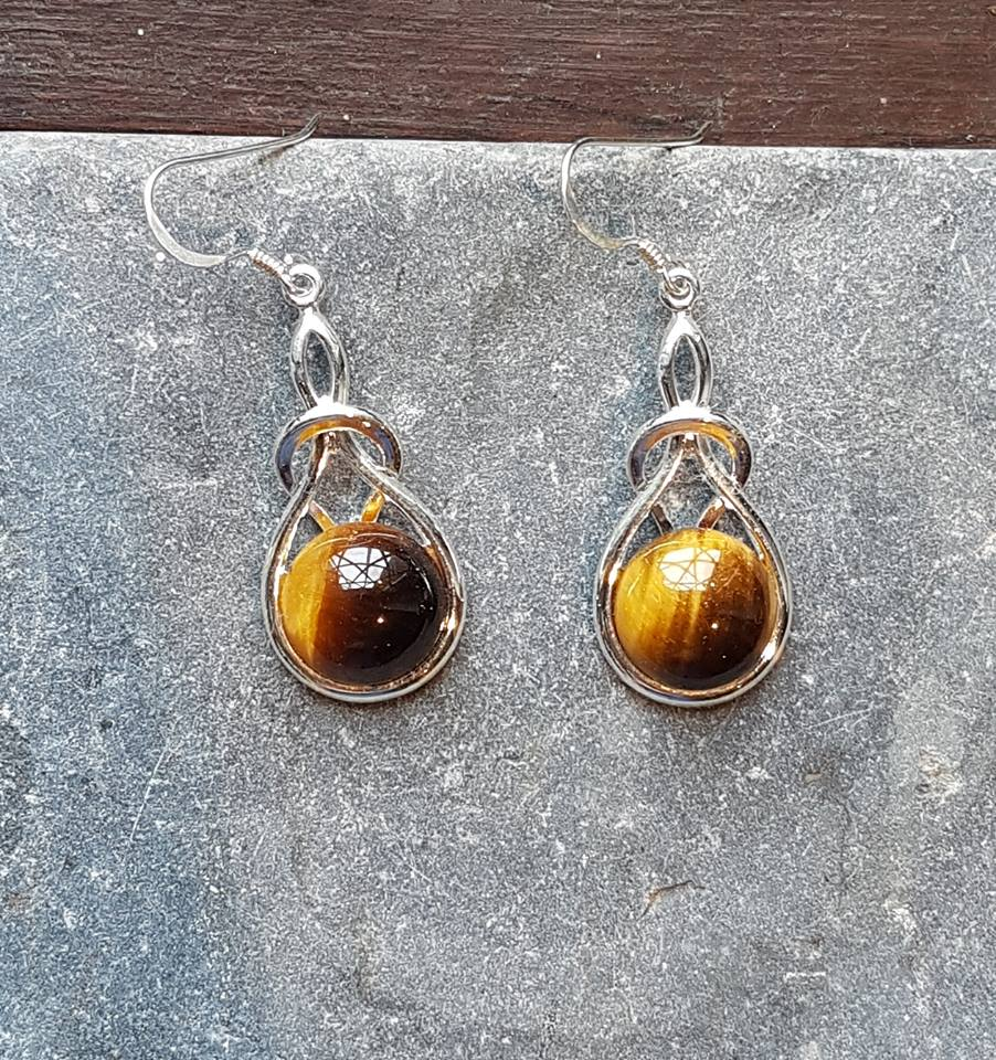 Celtic Knot Tigers Eye Earrings
