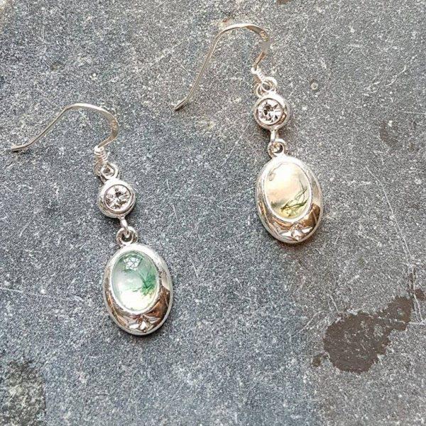 Celtic Diamond Green Moss Agate Earrings