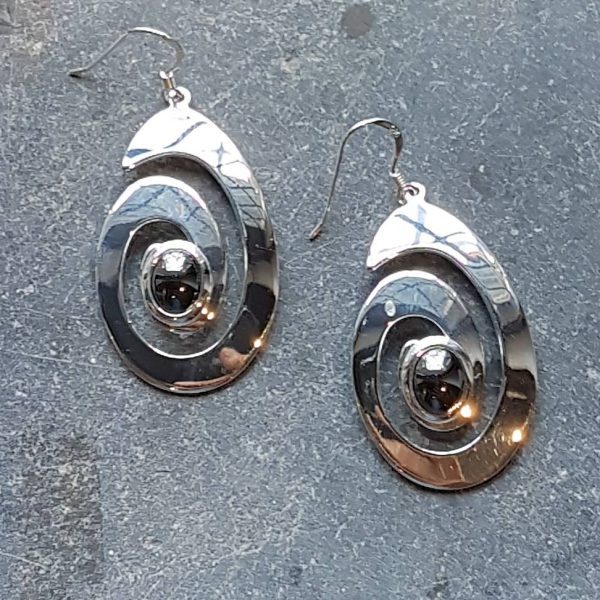 Celtic Spiral Hematine Earrings