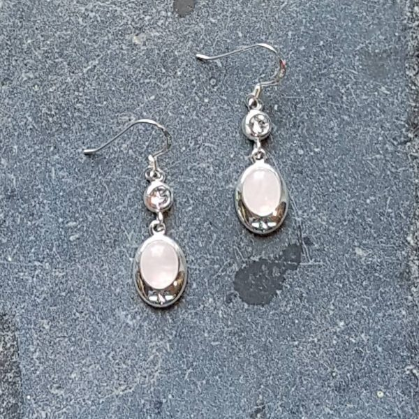 Celtic Diamond Rose Quartz Earrings