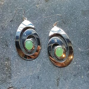 Celtic Spiral Adventurine Green Earrings