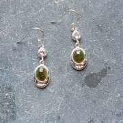 Celtic Diamond Jade Nephrite Earrings