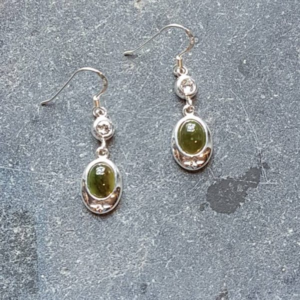 Celtic Diamond Jade Nephrite Earrings
