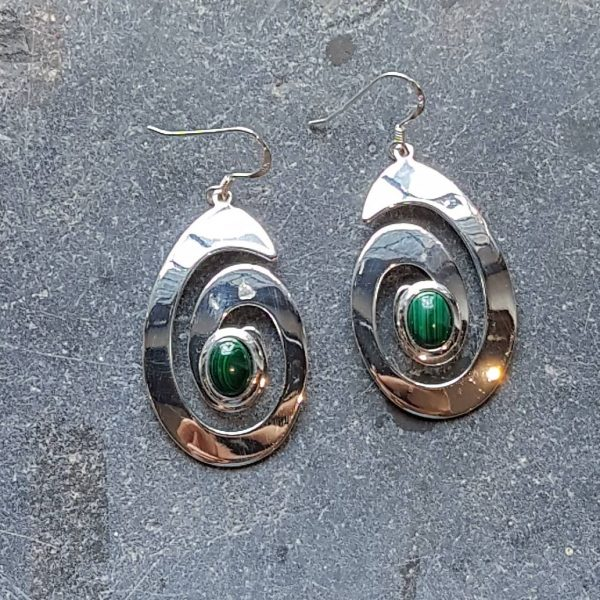 Celtic Spiral Malachite Earrings