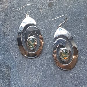 Celtic Spiral Green Moss Agate Earrings
