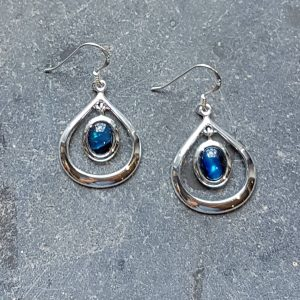 Celtic Loop Blue Avalone Earrings