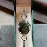 Medium Silver Green Moss Agate Bangle