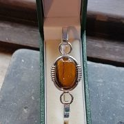 Medium Silver Tigers' Eye Bangle
