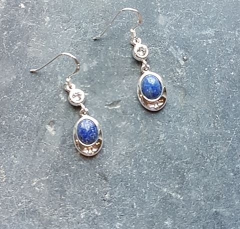 Celtic Diamond Lapis Lazuly Earrings