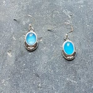 Celtic Blue Onyx Agate Earrings