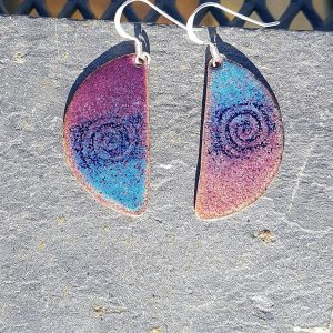 Half & Half Earrings-Purple & Blue