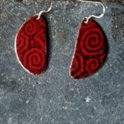 Red Tribal Fired Earrings