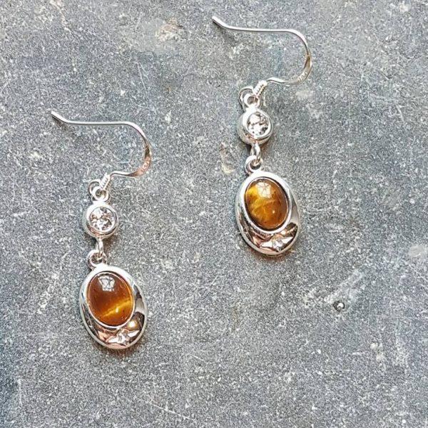 Celtic Diamond Tigers Eye Earrings