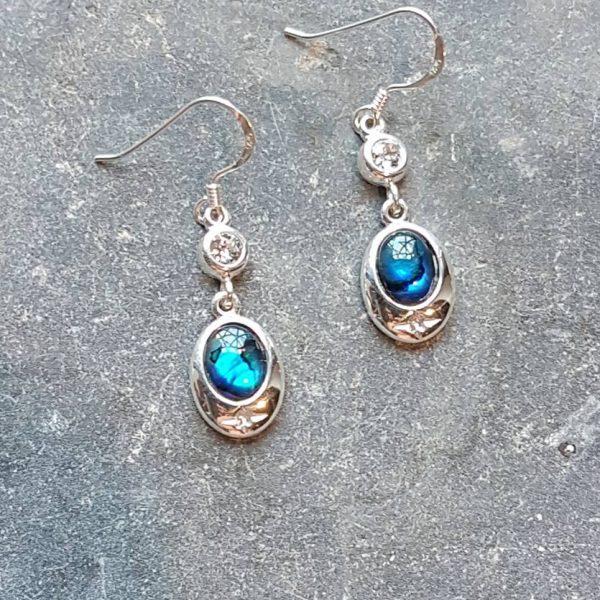 Celtic Diamond Blue Avalone Earrings