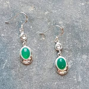 Celtic Diamond Green Onyx Agate Earrings
