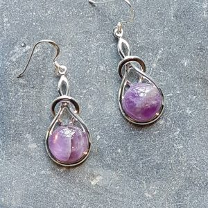 Celtic Knot Amethyst Earrings