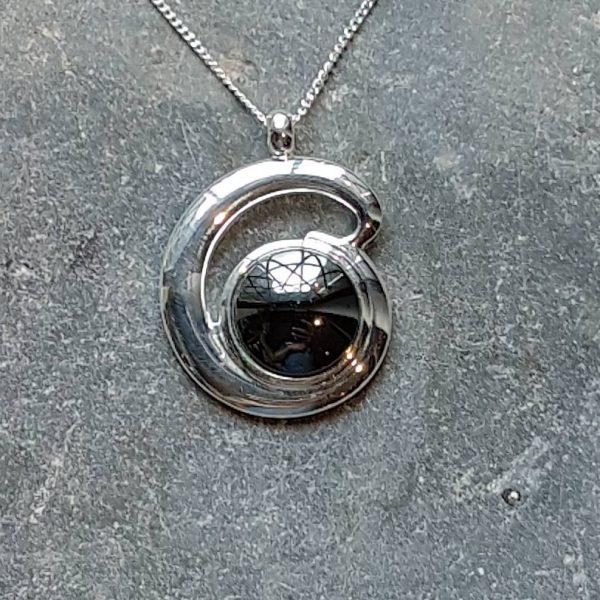 Hematine Silver Loop Pendant