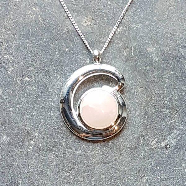 Rose Quartz Silver Loop Pendant