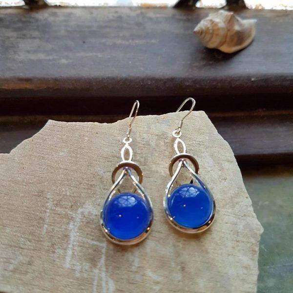 Celtic Knot Blue Onyx Agate Earrings