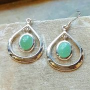 Celtic Loop Adventurine Green Earrings