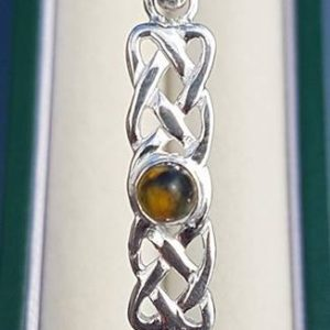 Tigers' Eye Silver Celtic Bangle