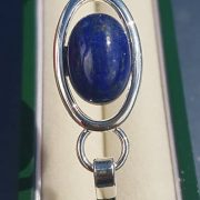 Lapis Lazuly Oval Silver Bangle