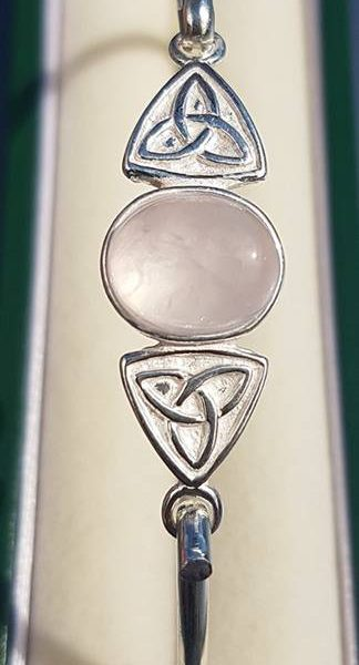 Rose Quartz Silver Trinity Knot Bangle