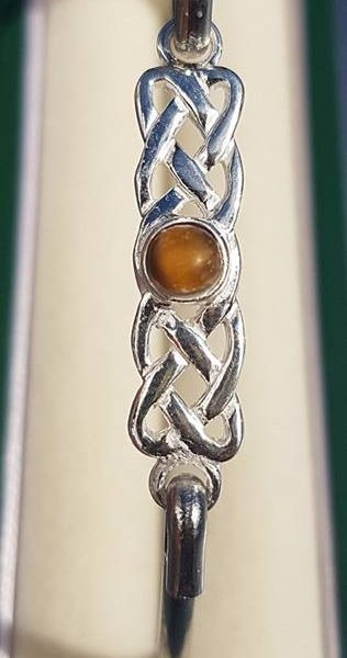 Amber Silver Celtic Bangle