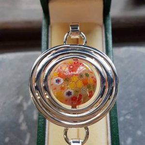 Millefiori Silver Celtic Disk Bangle-Orange
