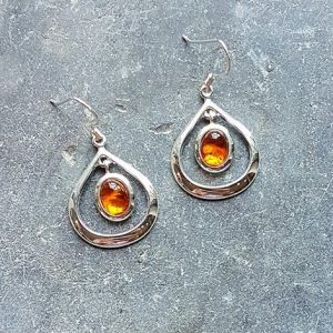 Celtic Loop Amber Earrings