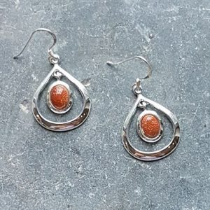 Celtic Loop Gold Stone Earrings