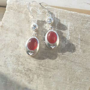 Celtic Diamond Garnet Earrings