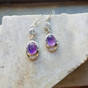 Celtic Diamond Amethyst Earrings
