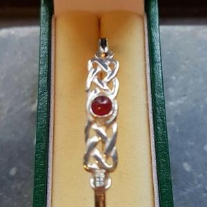 Garnet Silver Celtic Bangle