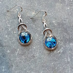 Celtic Knot Blue Avalone Earrings