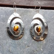 Celtic Spiral Tigers Eye Earrings