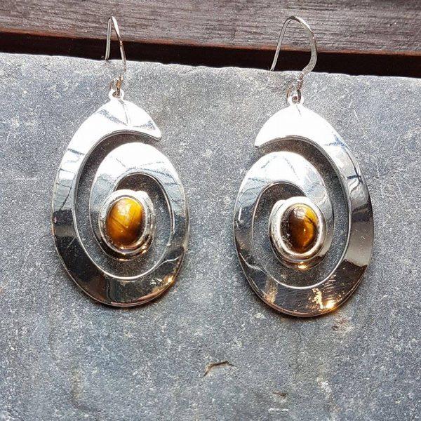 Celtic Spiral Tigers Eye Earrings