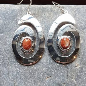 Celtic Spiral Gold Stone Earrings