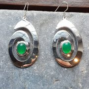 Celtic Spiral Green Onyx Agate Earrings