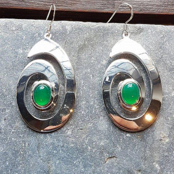 Celtic Spiral Green Onyx Agate Earrings