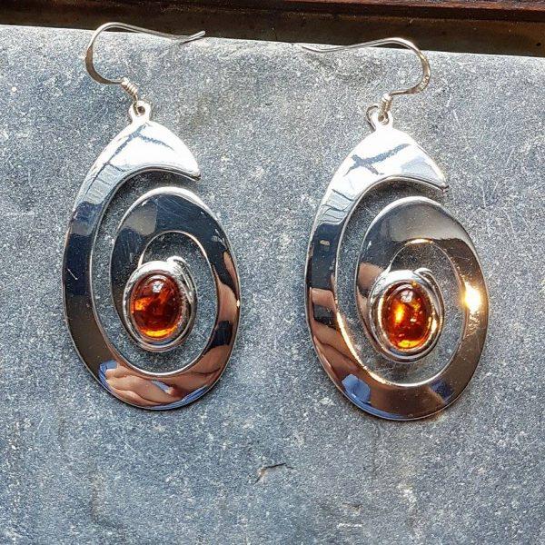 Celtic Spiral Amber Earrings
