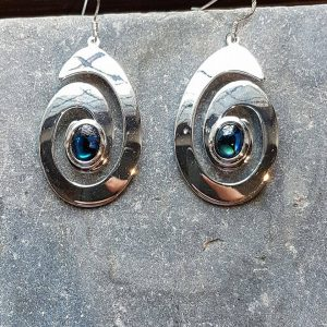 Celtic Spiral Blue Avalone Earrings