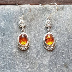 Celtic Diamond Amber Earrings