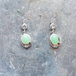 Celtic Diamond Adventurine Green Earrings