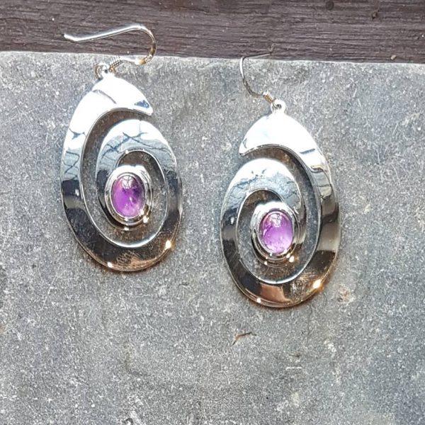 Celtic Spiral Amethyst Earrings