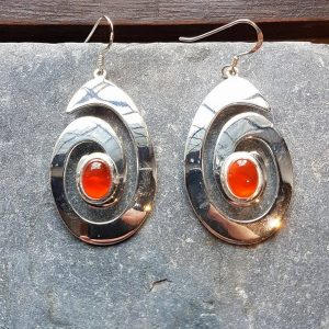 Celtic Spiral Carnelian Earrings