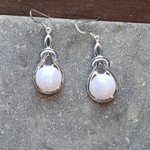 Celtic Knot Blue Lace Agate Earrings