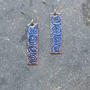 Spiral Earrings- blue & white