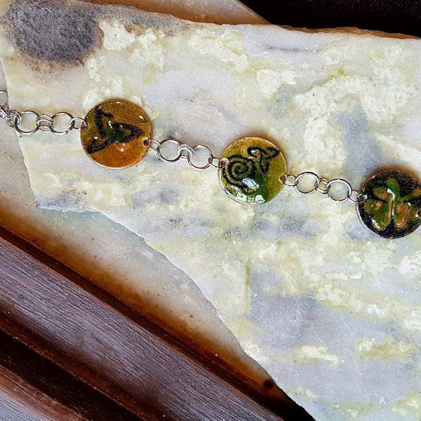 Enamel Bracelet-emerald celtic mix