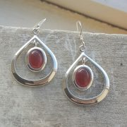 Celtic Loop Garnet Earrings